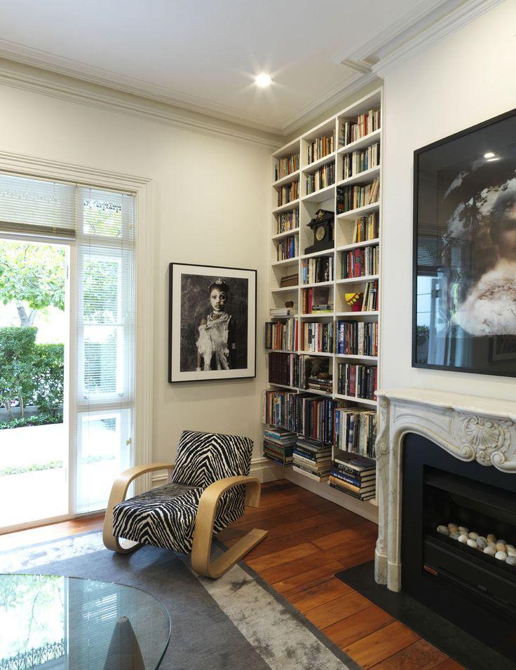 WOOLLAHRA TERRACE   alwill  #woodenfloor #interiors #livingroom #artwork #fireplace #bookcase #bookshelf #armchair