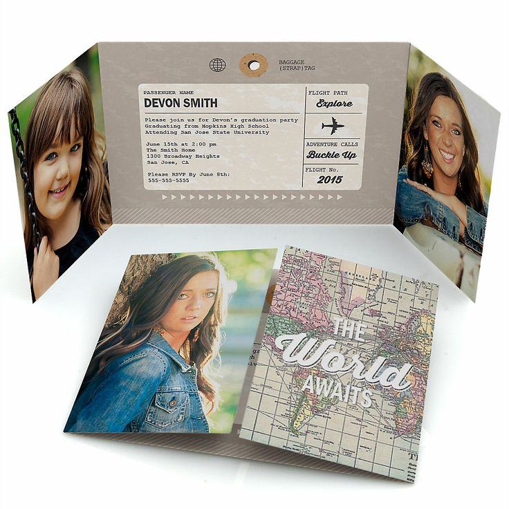 World Awaits - Personalized Photo Graduation Invitations | BigDotOfHappiness.com
