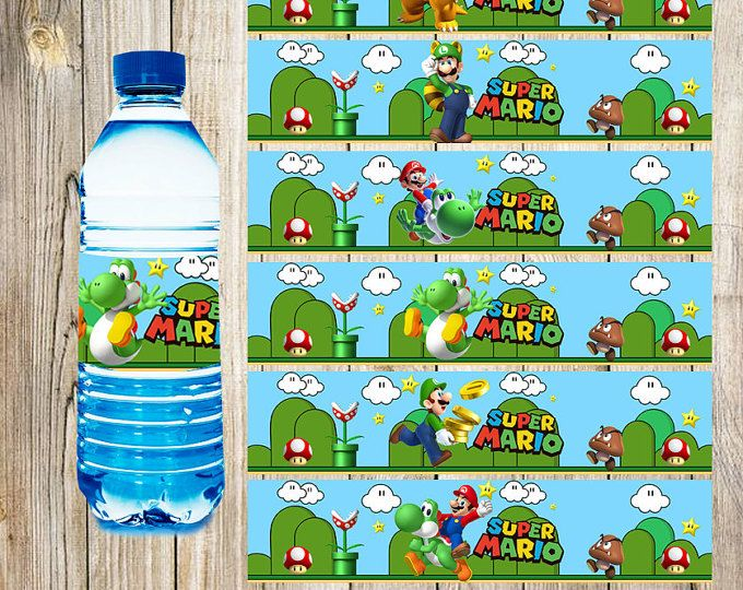 12 Super Mario Bros Water Bottle Label instant download, Printable Super Mario Bros Water Bottle Label, Super Mario Bros Water