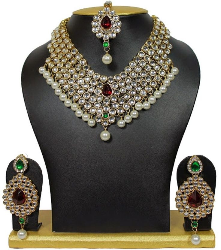 Indian Bollywood Multicolor Kundan Ethnic Heavy Necklace Set For Wedding #Goldjewellery17