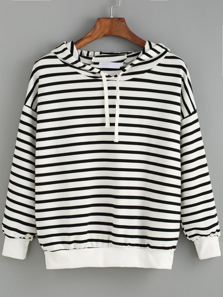 Hooded Striped Black and White Sweatshirt