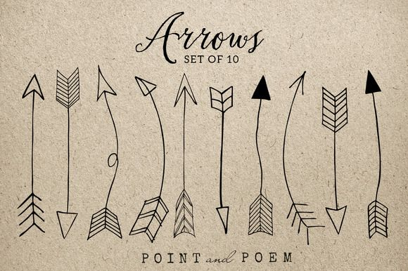 Hand Drawn Arrow Clip Art Png+Vector by Point and Poem on Creative Market