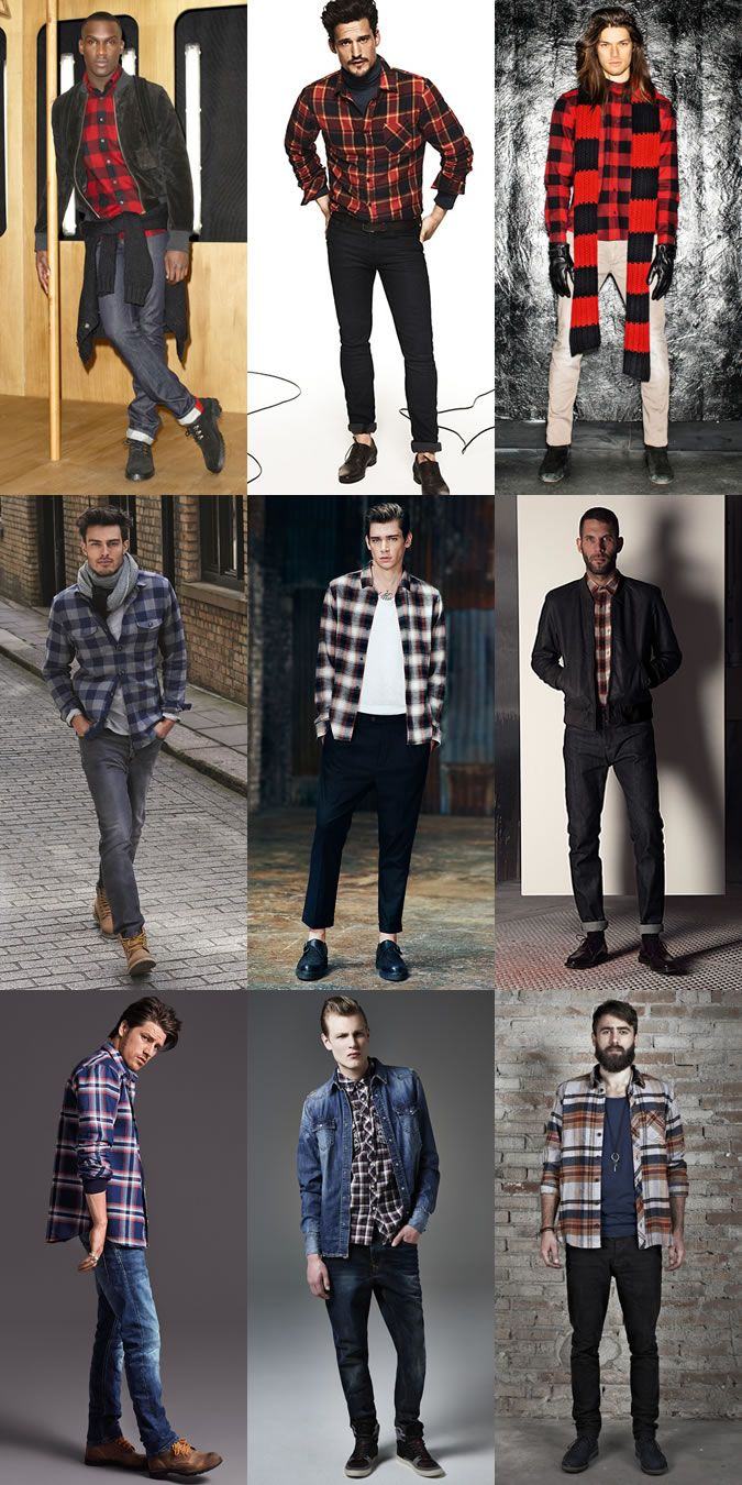 Men's Autumn/Winter Essential Fabrics: Wool in The Checked Flannel Shirt Lookbook Inspiration