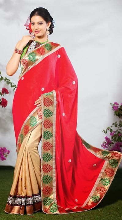 USD 60.94 Red and Brown Party Wear Saree 31891