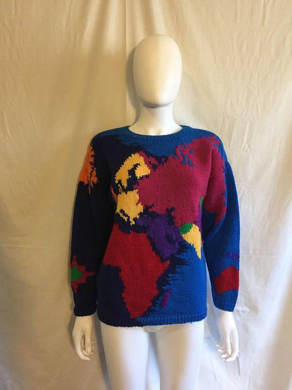 World Map Sweater.World Earth Globe Map Sweater Handmade Hand Knit Sweater