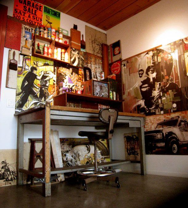 art studio setup home art studio pinterest. Black Bedroom Furniture Sets. Home Design Ideas