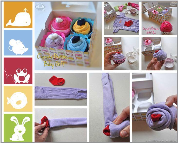 Pastelitos de body y calcetines de bebe. Un bonito regalo para la futura mama.