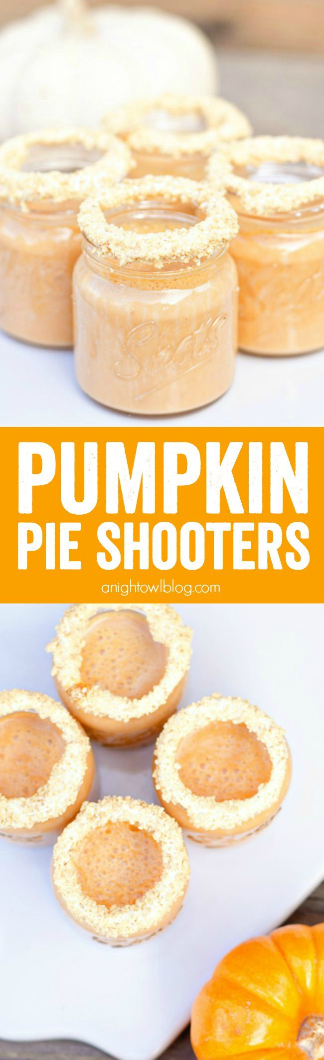 Add a little fun to your Fall! These Pumpkin Pie Shooters are delicious and can be made with or without alcohol! Serve them in adorable #WorldMarket Mason Jar Shot Glasses! #WorldMarketTribe