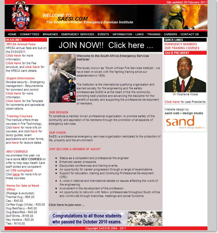 Community website design for The Southern African Emergency Institute, SAESI