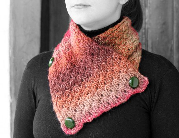 Neck Warmer multicolored yarn by MmeDefargeYarnworks on Etsy