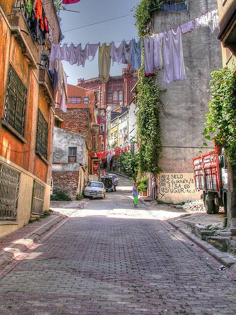 The streets of Istanbul This used to be an old Greek neighborhood in the city. Old beautiful buildings with beautiful vivid colors by Faddoush