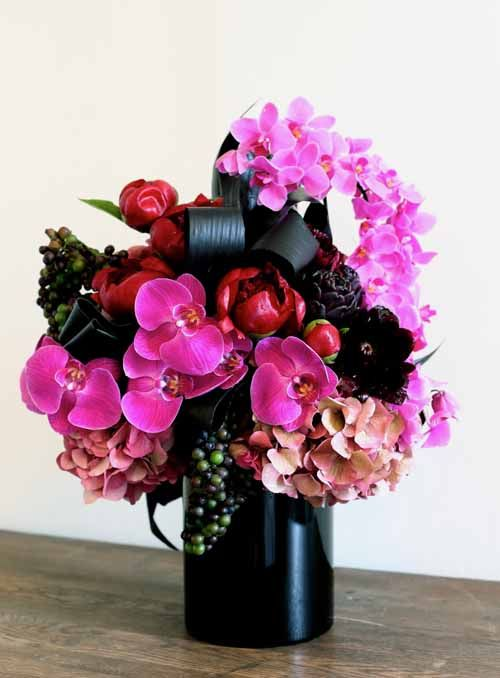 Black And Pink Purse And Flower Centerpiece