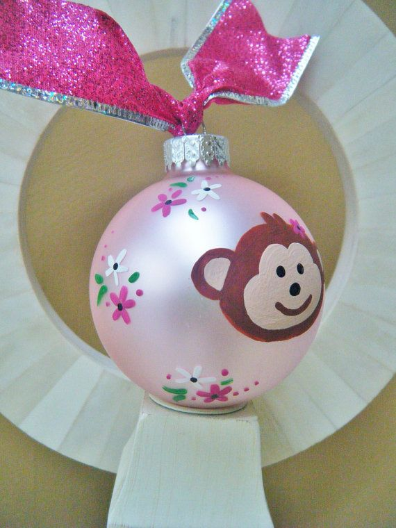Monkey Ornament - Babys First Christmas - Personalized Hand Painted Glass Ball Ornament. $18.00, via Etsy.