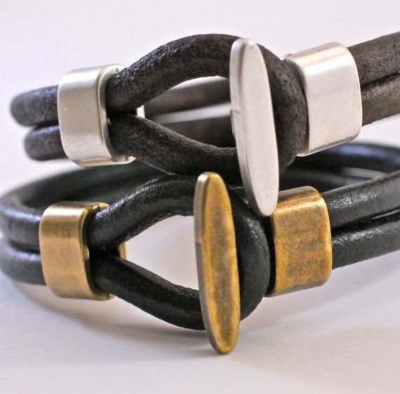 Men's Bracelet Simple Leather Bangle Mens by amyfinedesign