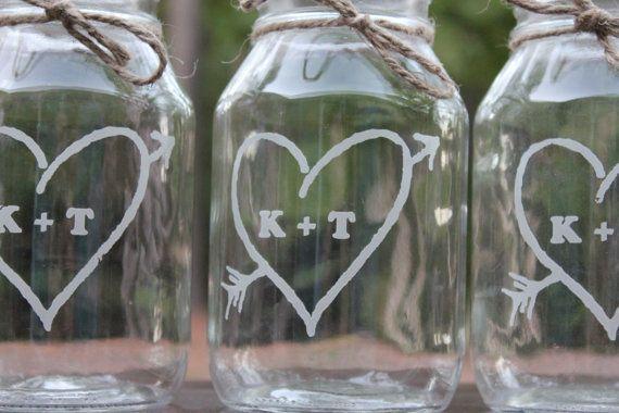 Mason Jar Quart Vases Wedding Center Pieces by EngravingByT, $96.00