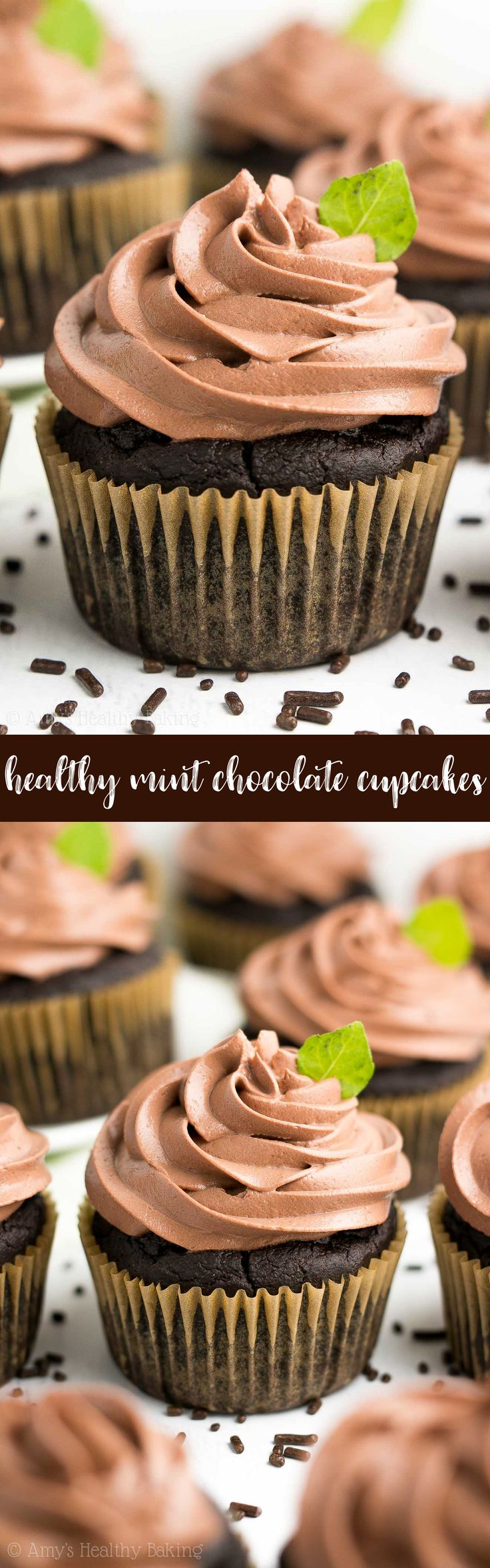Healthy Mint Chocolate Cupcakes -- only 97 calories, including the chocolate frosting! They taste AMAZING & so rich! And that healthy frosting contains NO butter or powdered sugar! ♡ easy mint chocolate cupcakes | chocolate cupcakes from scratch | simple chocolate frosting | healthy greek yogurt frosting | healthy homemade chocolate cupcakes