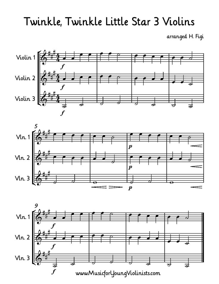 Violin Music: Here is a simple arrangement of Twinkle, Twinkle Little Star for 3 violins. Happy music making! #FreeSheetMusic, #FreeViolinMusic, #ViolinMusic