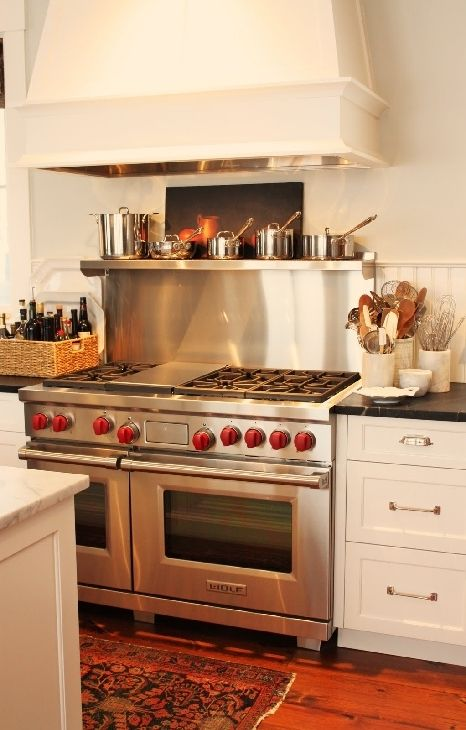 Stove! These red stove handles... OMG!Wall Colors, Dreams Kitchens, House Renovations, Benjamin Moore Gray, Benjamin Moore White, Kitchens Ideas, Range Hoods, Stoves, Stainless Steel