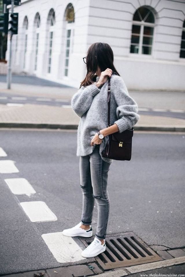 All light gray and white sneaks black bag