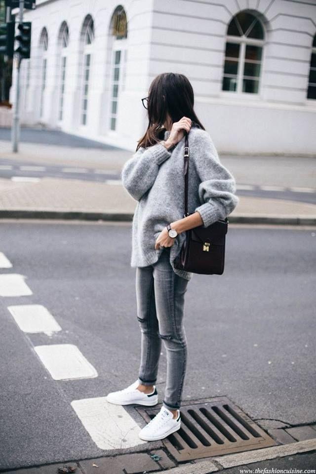 All light gray and white sneaks black bag