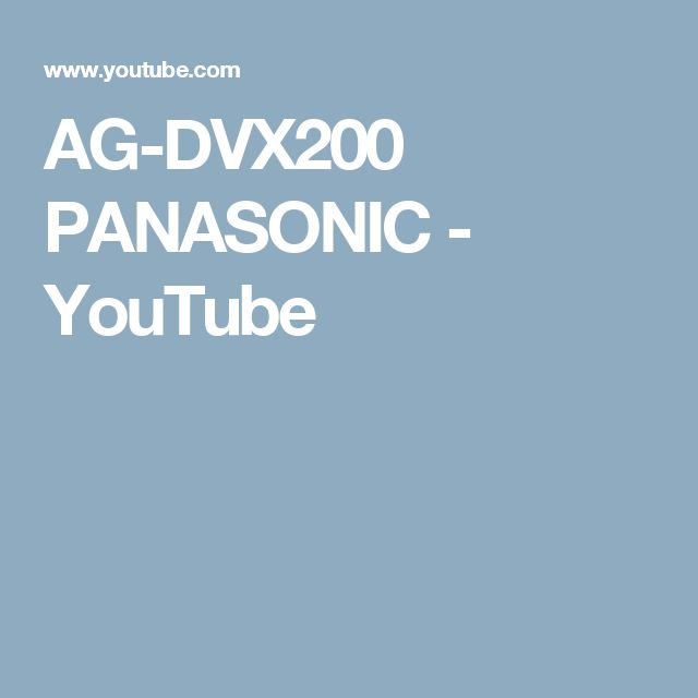 AG-DVX200 PANASONIC - YouTube