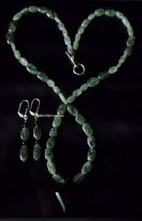 BaRb'n'ShEll Creations-Tourmalinated quartz gemstone, black diamond shaped pendant  necklace & earrings set-BaRb