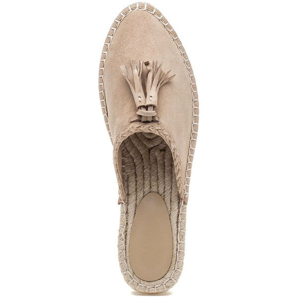 JOIE Walda Powder Suede Espadrille ($60) ❤ liked on Polyvore featuring shoes, sandals, joie shoes, tassel shoes, rubber sole shoes, closed toe shoes and suede espadrilles