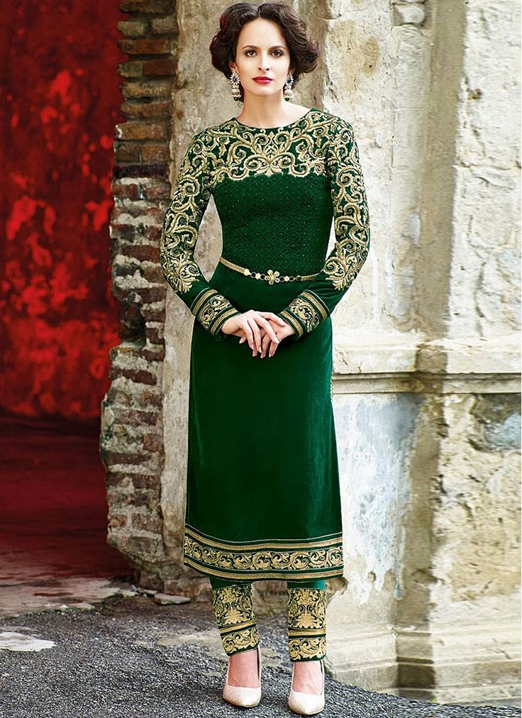 Flawless Green Velvet Designer Suit | Things to Wear | Pinterest