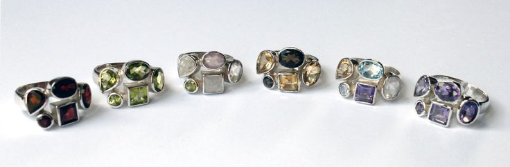 Sterling silver & gemstone rings: Garnet, Peridot, Moonstone/Quartz/Rose Quartz/Peridot, Citrine/Smoky Quartz,  Citrine/Moonstone/Amethyst/Blue Topaz & Amethyst.