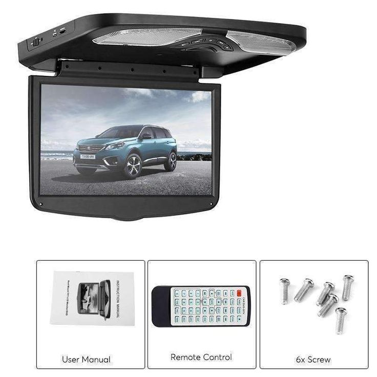 Wallmart.win 15.6 Inch Roof Monitor 1366x768p AV USB SD Region Free DVD FM Transmitter Built In Speaker 32 Bit Ga