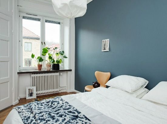 Bedroom styling, teal wall, scandinavian style, home tour