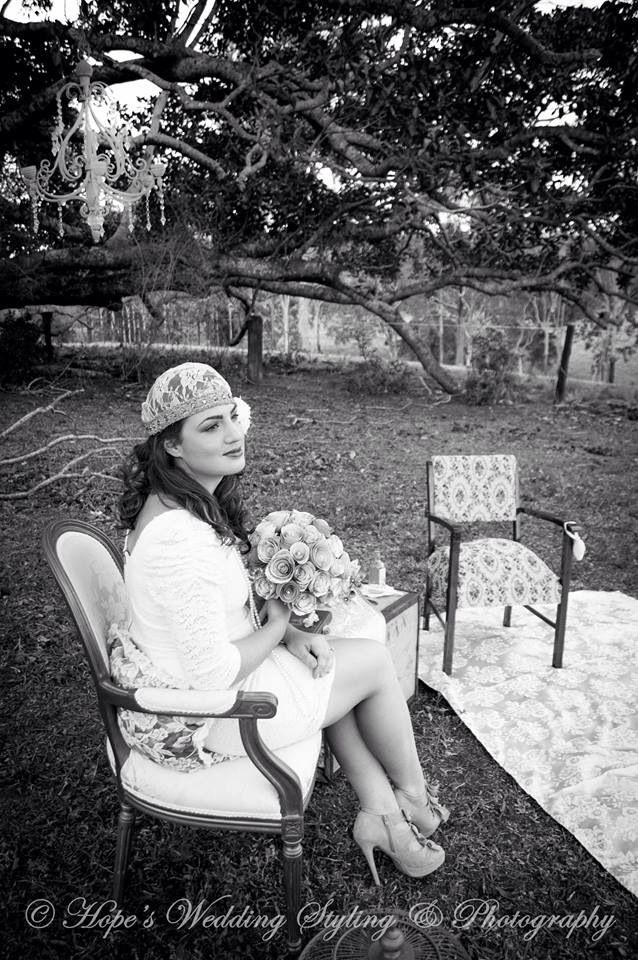 Headpiece made by Luminous Miss Bouquet by www.papervintagelove.com.au Chair by Adorn Event Hire