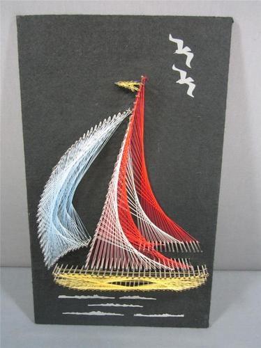 Vintage String Art Stringart Sailboat Mid Century Art Nautical Home Decor
