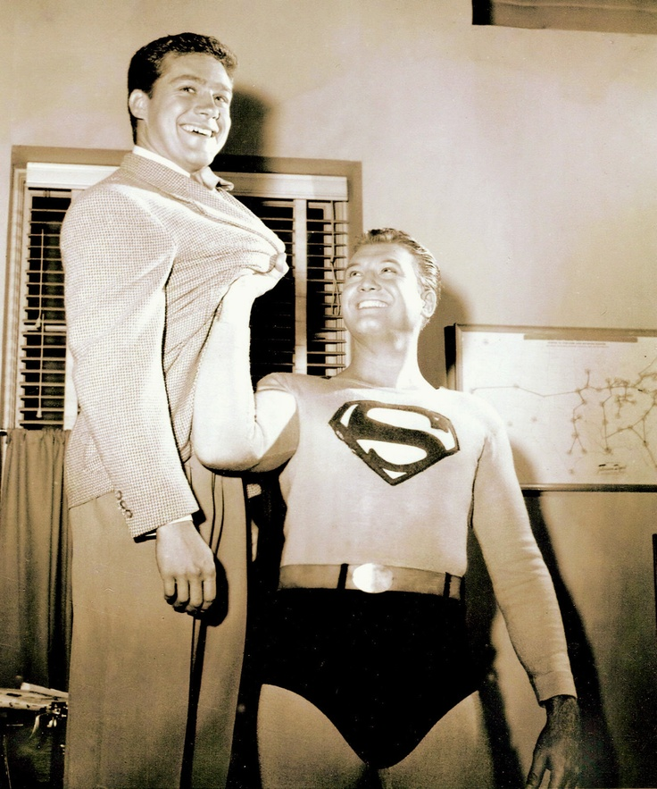 """R.I.P. """"Jimmy Olsen"""" (Jack Larson) age 87 Sept. 2015, shown here with George Reeves from the tv series """"Superman""""."""