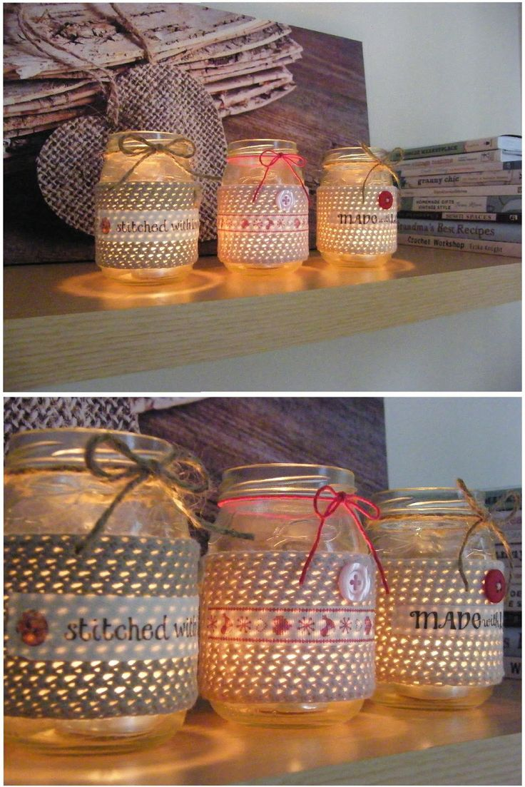 Embellished crochet tea light jar covers! (Jar upcycling - love)