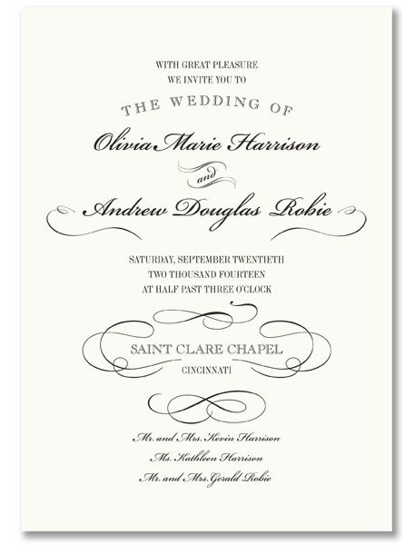 Vera Wang Wedding Invitation