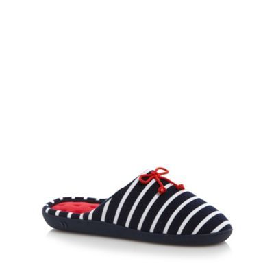 Totes Navy striped mule slippers- at Debenhams.com