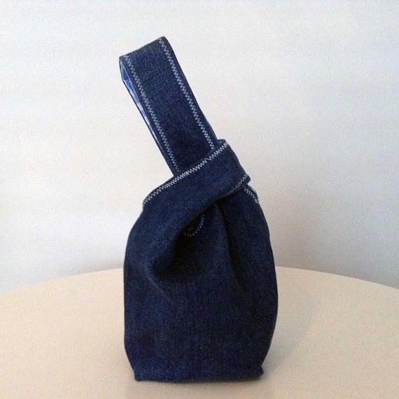 Mini Denim Japanese Knot Bag Personalised options Mini Wrist
