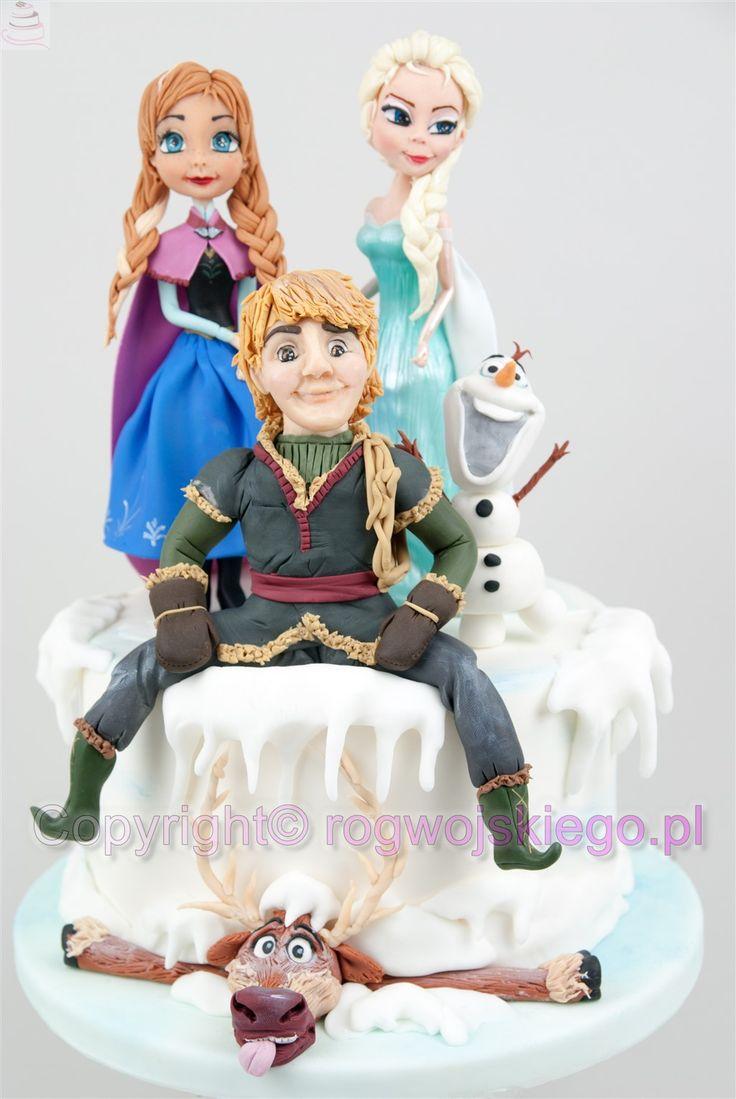 Tort kraina lodu frozen. Anna Elsa Olaf Sven Kristoff, torty dla dziewczynek, torty dla dzieci, frozen cake http://rogwojskiego.pl