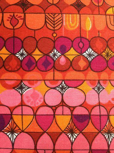 1960s curtain fabric : hot pink, baby pink, orange, purple, yellow