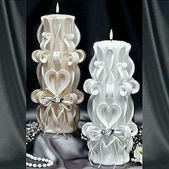 Heart carved candle