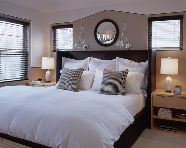 "20 Bedroom Spaces with Black Leather Beds | MJ Lanphier | Image: MJ Lanphier | The back pillows you see here were part of a ""Hotel Collection"" series from Macy's Home that looked lovely with the bed."