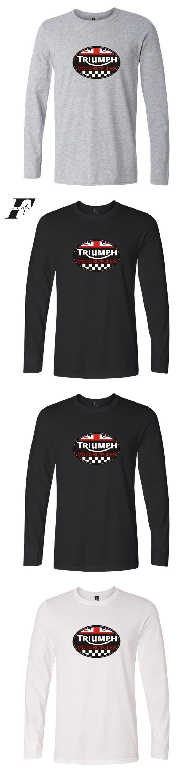 LUCKYFRIDAYF 2017 TRIUMPH MOTORCYCLE Autumn Summer Long Sleeve Casual Cotton Men/Women Hip hop T Shirt Clothes Plus Size 4XL