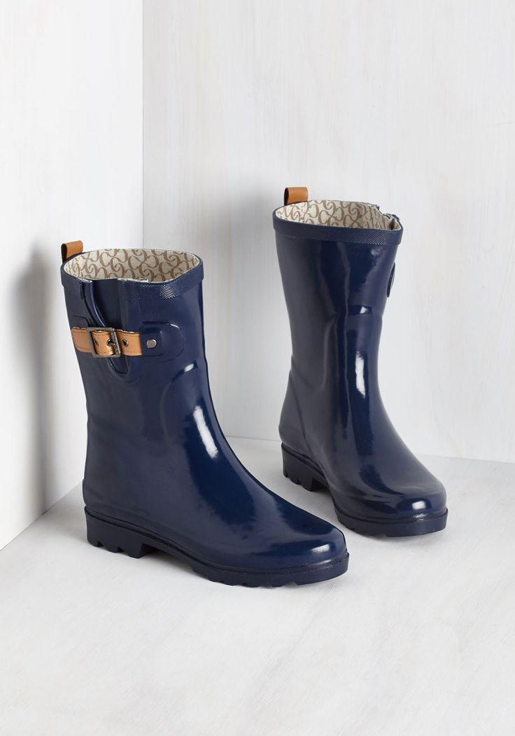Puddle it Be? Rain Boot in Navy - Blue, Solid, Buckles, Casual, Spring, Fall, Variation