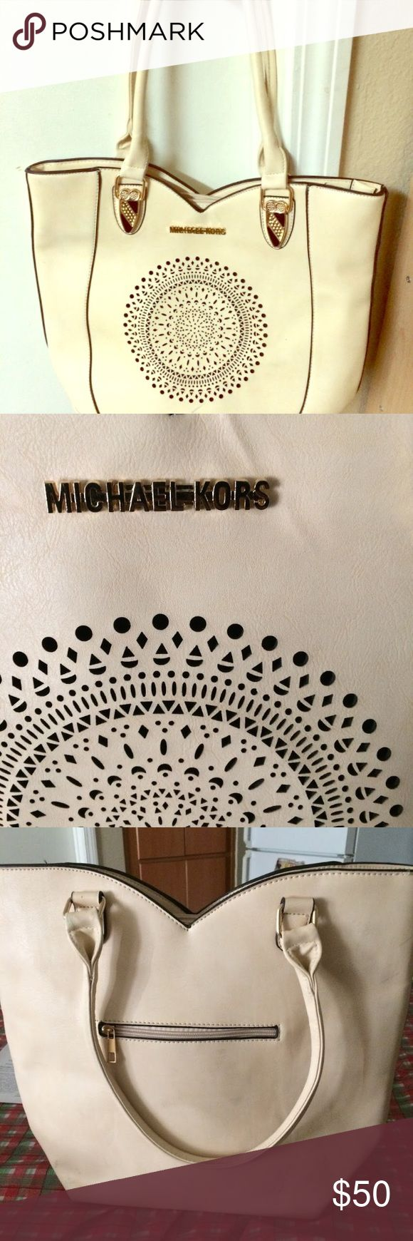 MK Bag Bone color MK bag has a few marks can be cleaned. Big and roomy. Not Genuine MK bag nice look a like. MICHAEL Michael Kors Bags Shoulder Bags