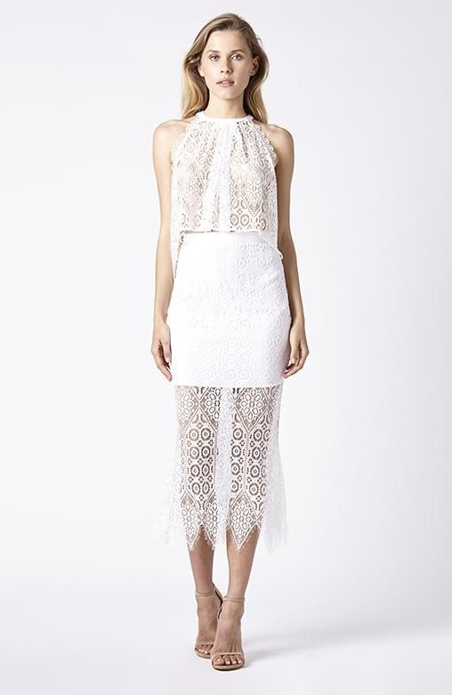 RUBY SEES ALL - Fantasy Drape Top - White Lace