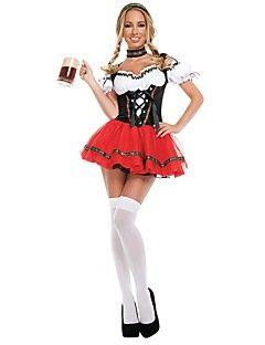 Oktoberfest+Fantasias+Fantasias+de+Cosplay+Roupa+Feminino+Adulto+Festival/Celebração+Trajes+da+Noite+das+Bruxas+Vermelho+Oktoberfest+–+BRL+R$+166,39