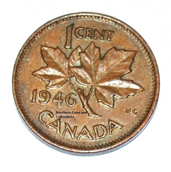 Canada 1946 1 Cent Copper Coin One Canadian Penny | vintage money