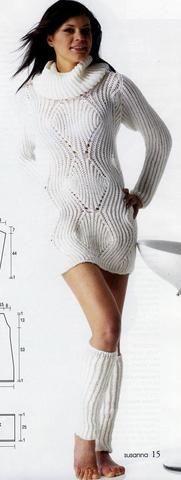 Теплый белый свитер и гетры