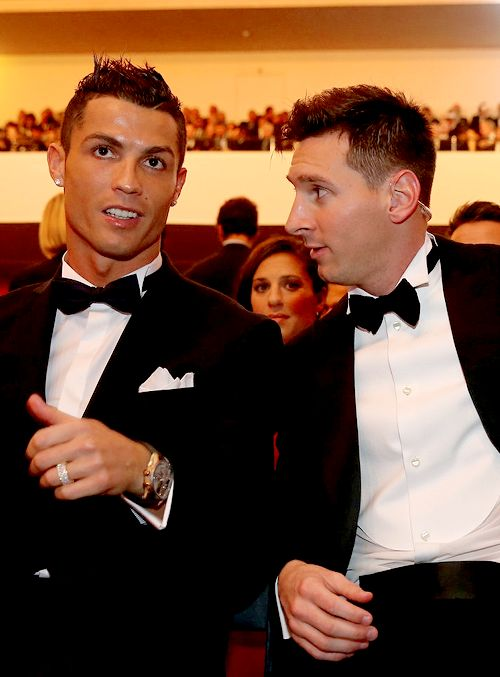 """madridistaforever: """" FIFA Ballon d'Or nominee Cristiano Ronaldo of Portugal and Real Madrid sits with FIFA Ballon d'Or nominee Lionel Messi of Argentina and Barcelona during the FIFA Ballon d'Or Gala..."""